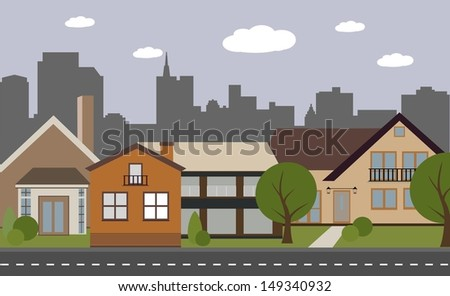 Streets and houses - stock vector