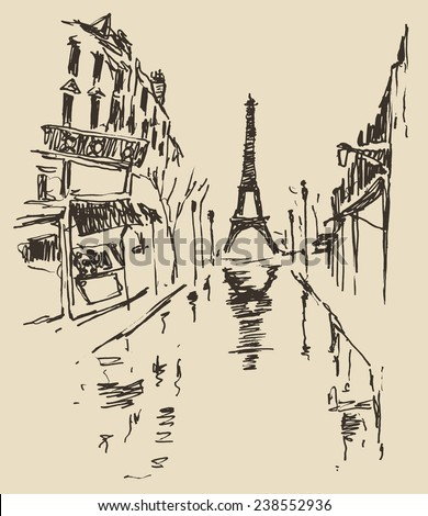Streets in Paris, France, vintage engraved illustration, hand drawn - stock vector