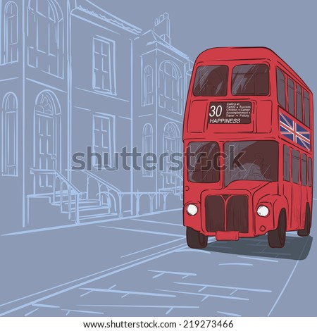 Streets of London. Typical london victorian terraced street panorama with red double-decker bus. EPS8 vector illustration. - stock vector