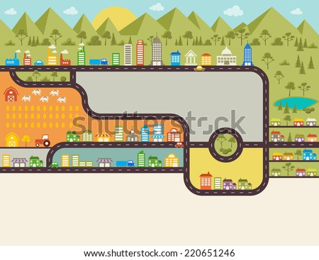 Streets on a big colorful city - stock vector