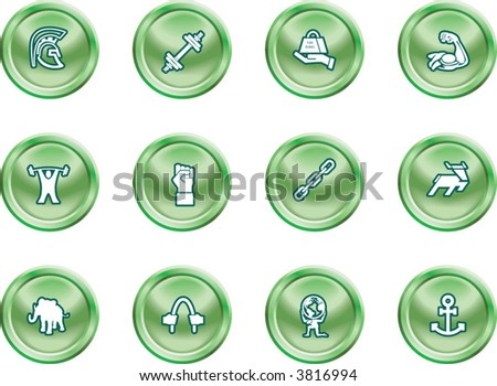 Strength Concept Icon Set A conceptual icon set relating to strength. - stock vector
