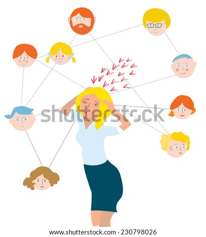 Stress about family members - illustration with many icons - stock vector