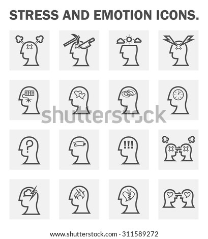 Stress and emotion icons sets. - stock vector