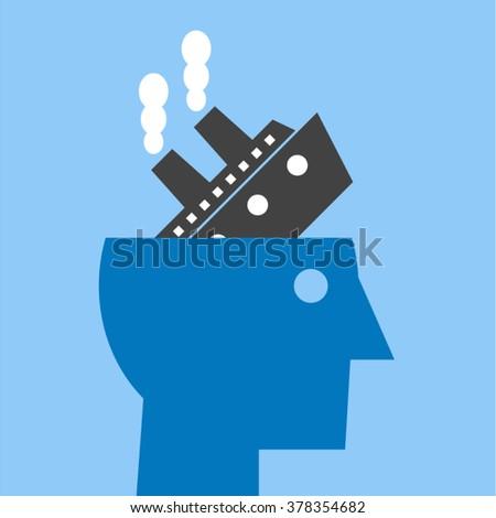 Stress Depression Anxiety Fatigue Pessimism Headache Migraine Concept Vector Design - stock vector