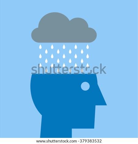 Stress Depression Anxiety Fatigue Pessimism Headache Migraine Concept Vector Design - head with rain cloud - stock vector