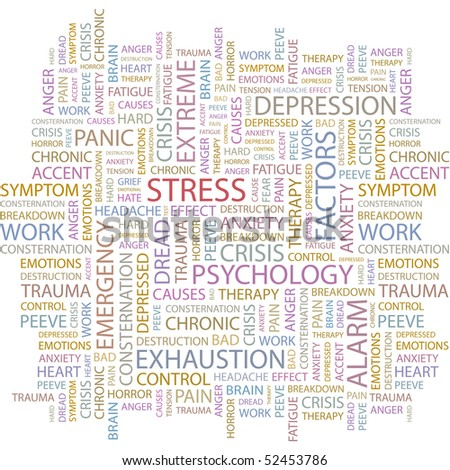 STRESS. Word collage on white background. Vector illustration. - stock vector