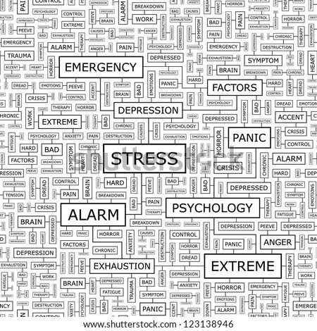 STRESS. Word collage. Seamless vector illustration. - stock vector
