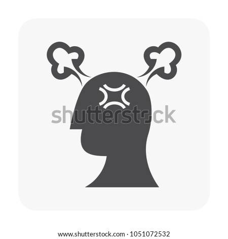 Stressed and emotion icon on white.