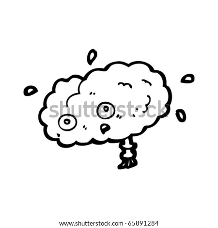 stressed brain cartoon - stock vector