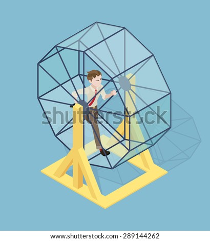 Stressed businessman running in the rat wheel. Conceptual illustration suitable for advertising and promotion - stock vector