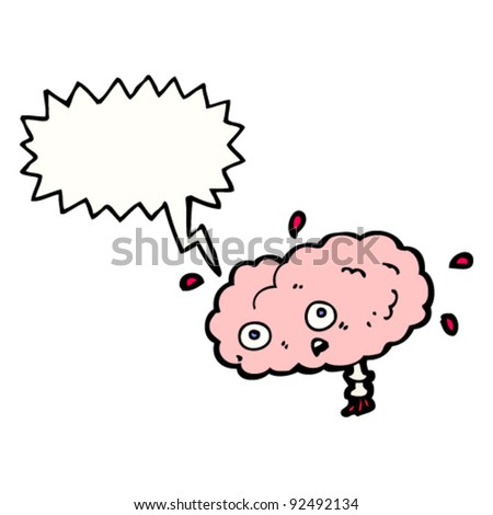 stressed cartoon brain - stock vector