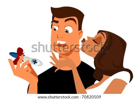 Stressful paternity announcement vector - stock vector