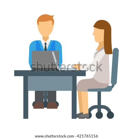 Stressful people waiting on job interview and interview vector concept. Interview office people and office businessman corporate employee interview. Interview meeting occupation professional people. - stock vector