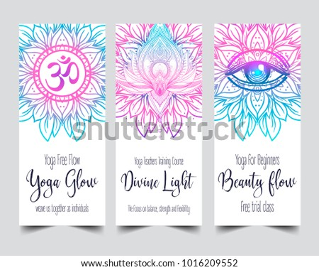 Stretch strength yoga card design colorful stock vector 1016209552 yoga card design colorful template for spiritual retreat or yoga studio reheart