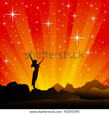 Stretching to the Stars - stock vector