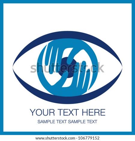 Striking eye design with hands. - stock vector