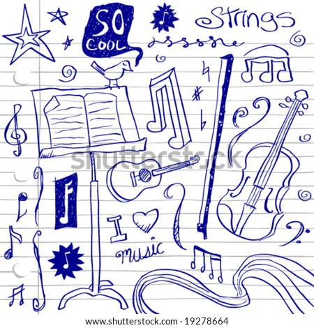 String Music Doodles - stock vector