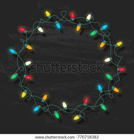 String Glowing Color Christmas Lights Circle Stock Vector