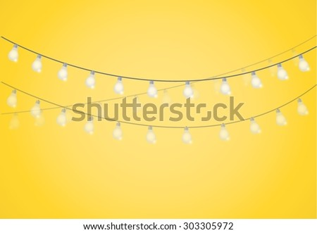 String of Lights. hanging light bulbs illustration design graphic - stock vector