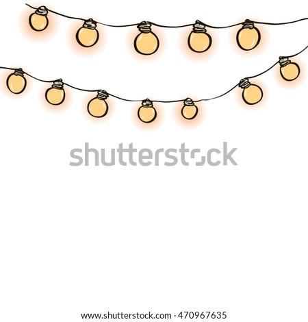 String Lights On Transparent Background Create Stock