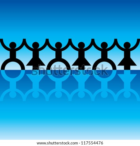 String of paper chain men in black and blue ideal border holding hands - stock vector