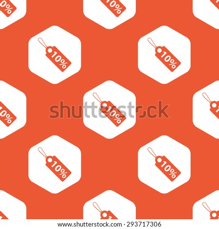 String tag with 10 percent discount in white hexagon, repeated on orange background