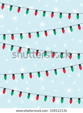 Strings of red and green christmas lights over blue background - stock vector