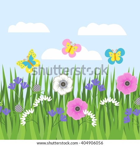 Strip of grass, grass and flowers. Pattern for a banner with grass and flowers and butterflies on a background of blue sky - stock vector