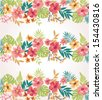 stripe tropical flower vector seamless pattern background - stock vector