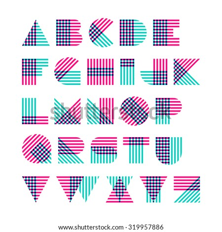 Striped alphabet made of crossed lines. Vector. - stock vector