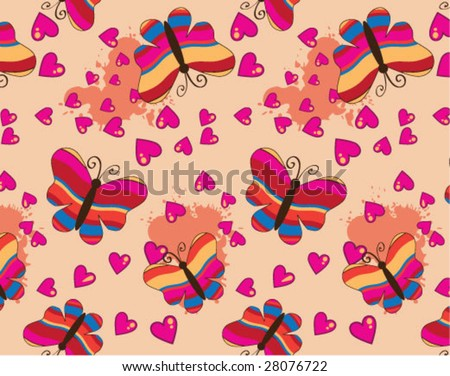 Striped butterflies seamless wallpaper