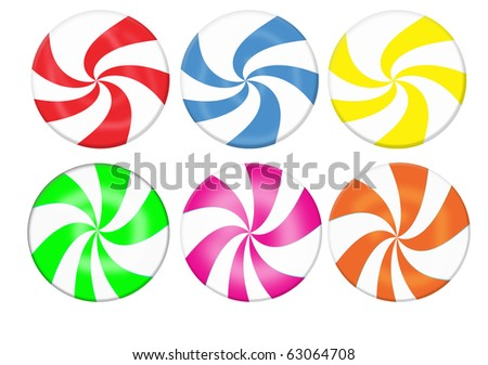Striped candy collection. Lollipop set isolated on white background - stock vector
