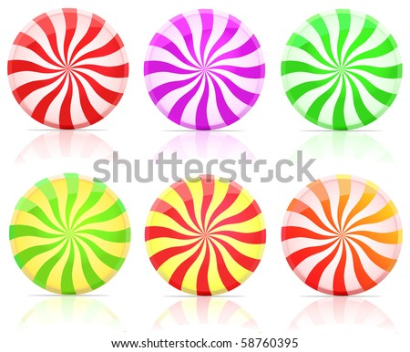 striped candy.  lollipop set isolated on white background - stock vector