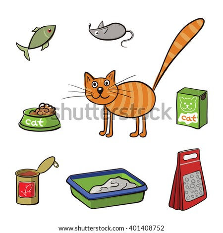 Striped cat and accessories for care. Vector illustration - stock vector