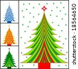 striped christmas tree color choices - stock vector