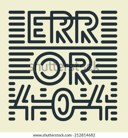 Striped Error 404 - stock vector