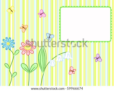 striped greeting card with flowers and butterflies