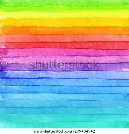 Striped hand drawn watercolor background. Vector version. Bright colors. Watercolor composition for scrapbook elements or print. - stock vector