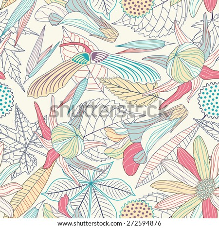 striped leaves and flowers on a white background in seamless pattern