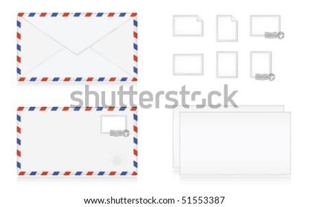 Striped letter set: letter, envelope and stamps. - stock vector