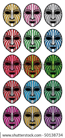 striped masks - stock vector