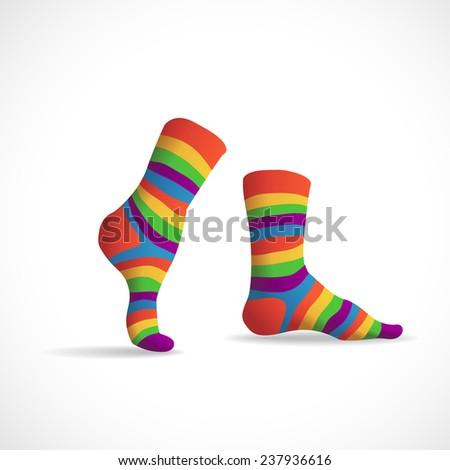 Striped multicolor socks, illustration - stock vector