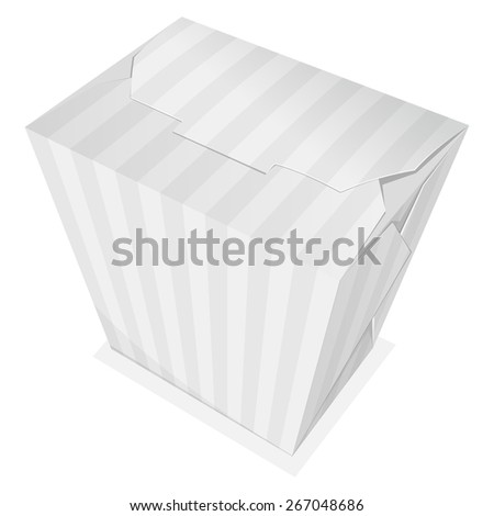 Striped noodle box. Take away food. Vector illustration - stock vector