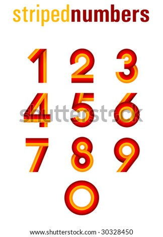 striped numbers - stock vector