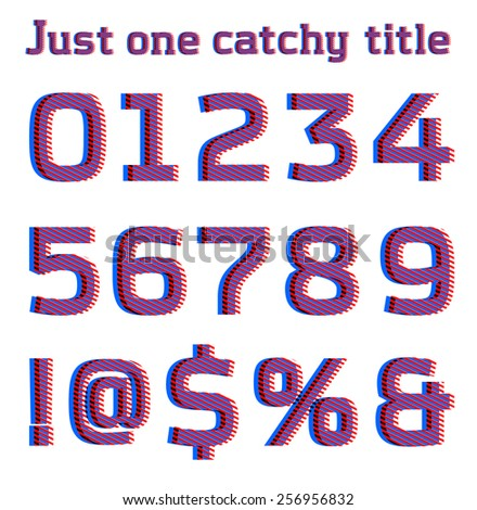 Striped optical illusion catchy font, part 3/3 numbers - stock vector