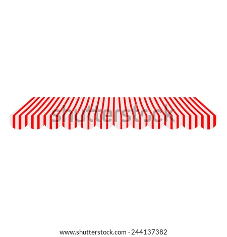 Striped red and white shop window awning vector isolated - stock vector