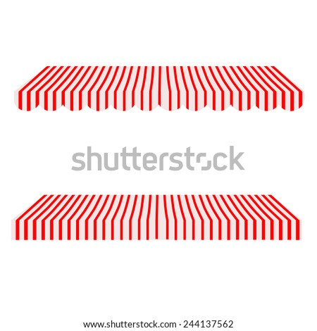 striped red white shop window awning stock vector