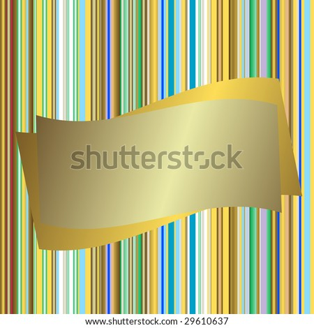Striped seamless background with silvery banner (vector) - stock vector