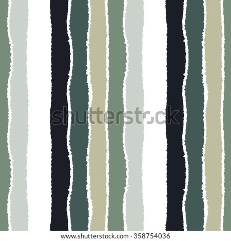 Striped seamless pattern. Vertical wide lines with torn paper effect. Shred edge band background. Gray, white, olive contrast colors. Vector