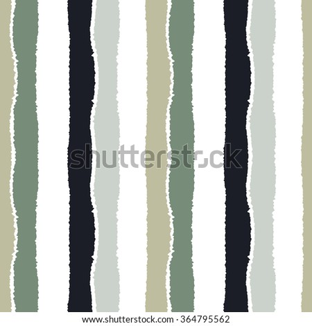 Striped seamless pattern. Vertical wide lines with torn paper effect. Shred edge band background. Gray, white contrast colors. Vector